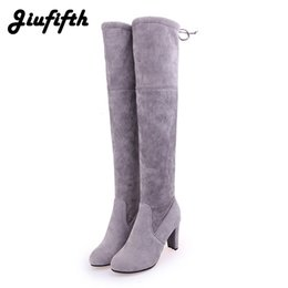 Brown Stretch Knee High Boots Australia - Thigh High Boots Female Winter Boots Women Over the Knee Flat Stretch Sexy Fashion Shoes 2019 Black Grey Brown Red