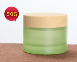 Green Plastic Wood Australia - luxury light green blue glass jar 20g 30g 50g cosmetic jar storage wax container with plastic wood grain lid 20ml 30ml 50ml