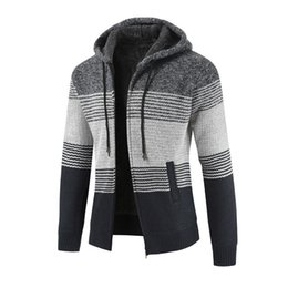 Chinese  Mens Winter Cardigan Slim Striped Sweater Blouse Tops Men's Casual Autumn Winter Zipper Fleece Hoodie Outwear Coat manufacturers