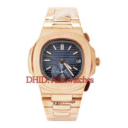 blue dial clock Australia - classic rose gold watch luxury mens watches 5980 R-001 self-winding automatic wristwatch316L stainless steel case bracelet blue dial clock