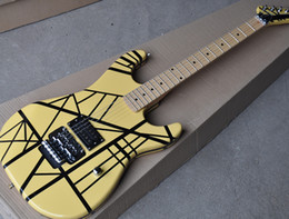 Guitars factory online shopping - Factory Custom Yellow Electric Guitar with Black Strips Double Rock Chrome Hardware H Pickup