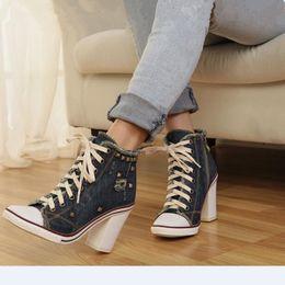 stylish lady shoes heel 2019 - Chaussure Femme 2019 Rivet Studded Blue Denim Shoes High Heels Stylish Cross-Tied Ladies Shoes High Square Heel Designer