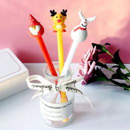 Discount santa pens - Christmas Santa Claus Snowman Fawn Gel Pen 0.5mm Black Ink Gel Pen Promotional Gift Stationery School & Office Supply