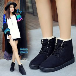 boots warm up Australia - autumn winter short tube boots lace up flat bottom thick cotton shoes woman students warm snow boots non-slip short boots896