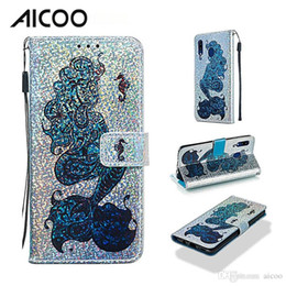 Iphone Wallet Buckle Case Australia - AICOO Bling Flashing Cartoon Leather Wallet Case with Kickstand Card Slot Magnetic Buckle Case for iPhone XS Samsung S10 A20 A30 OPP