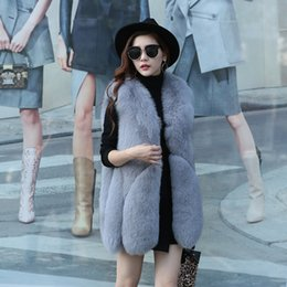 Fox Fur Skins NZ - Cool 2019 Imported Pattern The Whole Skin Fox Fur Grass Ma'am Vest Joker Long Fund Loose Coat Will Drip Special