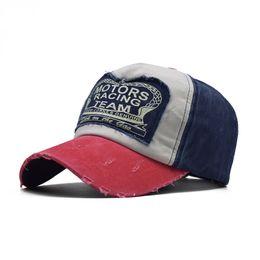 Wholesale denim models resale online - 2020 fashion explosion models denim washed baseball cap MOTO hip hop hat casual cap