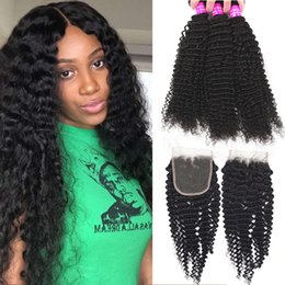 Discount unprocessed brazilian curly hair closure - 9A Brazilian Virgin Hair With Closure Unprocessed Kinky Curly Loose Deep Wave With 4x4 Lace Closure Human Hair 3 Bundles