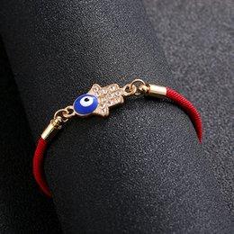 $enCountryForm.capitalKeyWord Australia - Women's Hamsa Fatima handmade red rope thread bracelet lucky braid CZ rhinestone bracelet adjustable small jewelry