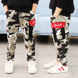 $enCountryForm.capitalKeyWord Australia - Boys camouflage pants kids letter embroidery double pocket trouser children elastic ribs ankler casual pants big boy clothes fit 3-12T F9826