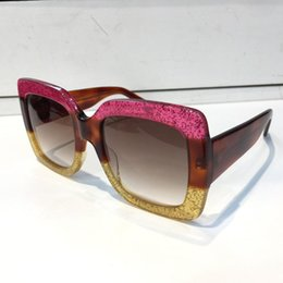 Mosaic Frames Australia - 0083S Luxury Women Designer Sunglasses Metal Square Frame Mosaic Shiny Crystal Colorful Diamond Top Quality UV400 Lens Come With Origin