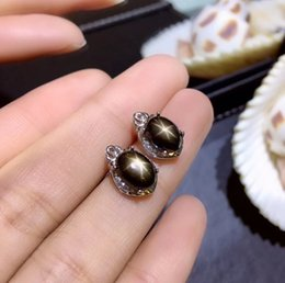 ed8ba3704 Natural black Star Sapphire gem stud earrings 925 silver natural gemstone  earrings fashion Hydrangea women party gift jewelry