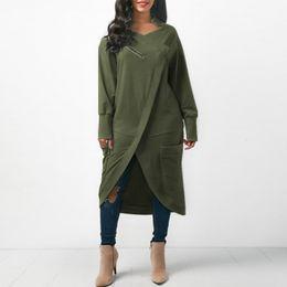 Plus Size Irregular Hem Dress NZ - Zanzea Women Sweatshirt Dress 2018 Autumn V Neck Long Sleeve Irregular Hem Solid Long Vestido Winter Fleece Pullover Plus Size Y190425