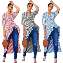 $enCountryForm.capitalKeyWord UK - Fashion Women T-Shirt Formal Long Sleeve V Neck Travel Simple Shirt Casual Striped T Shirt Tops Designer Irregular Swallow-Tailed T-Shirts