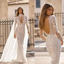 silver falls Australia - Berta 2019 Fall Sexy Mermaid Wedding Dresses With Cape Sheer Long Sleeves Appliques Beaded Summer Boho Bridal Gowns Deep V Neck BC1186