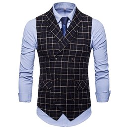 6f0d8729c87 The new d Suit Vest Men Jacket Sleeveless Beige Gray Brown Vintage Tweed Vest  Fashion Spring Autumn Plus Size Waistcoat