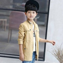 Wholesale boys school coats online – oversize Kids Clothing Spring Autumn Boys Trench Coat School Boys Outerwear Children Jackets Boy Teenagers Casual Printed Wind Coat