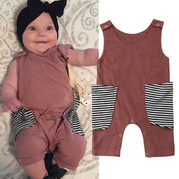 baby boy rompers christmas Australia - New Casual Kids Baby Girl Boy Sleeveless Rompers pocket Jumpsuit Short Pants Outfits Clothes Summer 0-24M