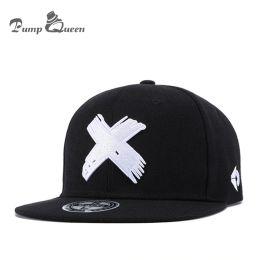 Snapback Hip Hop Panel Caps NZ - Pump Queen Unisex Fashion Classic 5 Panels Cotton Snapback Cap 3D X Embroidery Mens Flat Brim Baseball Cap Hip Hop Hats Cap