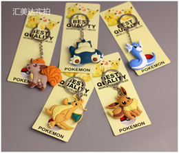 Eevee Figure Australia - Pikachu Charmander Bulbasaur Squirtle Dragonite Eevee Mewtwo Snorlax PVC Keychain Action Figure For Child Holiday Party Gifts 4-7cm