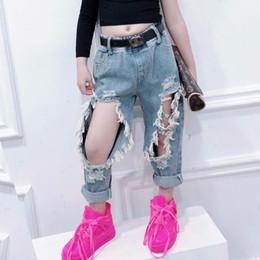 Wholesale streetwear style girl for sale – custom Summer girls jeans baby denim pants kids bottoms children trousers streetwear fashion Big hole ripped tassel to yrs Y200704