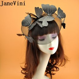 $enCountryForm.capitalKeyWord Australia - JaneVini Butterfly Decoration Bridal Hairband Face Veil Wedding Fascinators and Hats Black White Red Beige Bride Hat Hairwear 2019