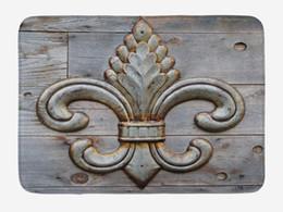 Discount symbol decor - Fleur De Lis Doormat Ancient Lily Symbol on Weathered Old Wooden Planks Historical Theme Image Home Decor Door Floor Mat