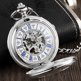 steampunk pocket Canada - Vintage Silver Delicate Engraved Case Mechanical Pocket Watch Steampunk Hand-Wind Neacklace With Chain Skeleton For Men Women