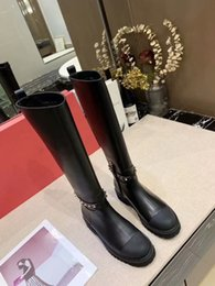 $enCountryForm.capitalKeyWord Australia - Super New Style Woman Round Toe Black Leather Half Boots Femal Large Size Side Zipper Knee Boots Woman Mixed Color Rivet Knight Boots