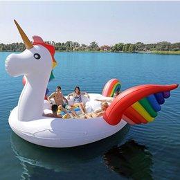 venda por atacado 2020 Nova 6-8 pessoa enorme Float Flamingo Piscina inflável gigante Unicorn Piscina Island Para Pool Party Barco de flutuação