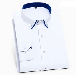 White Chemise Dress Australia - 2019 Luxury Men Shirts Long Sleeve Mens Dress Shirts Cotton White Black Shirt Men Tuxedo Shirt Plus Size Slim Fit Chemise Homme Wholesale