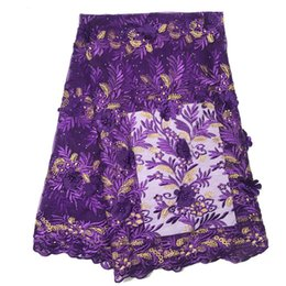 Chinese  3D Flowers Latest African Cord Lace Fabrics High Quality 2019 Nigerian Lace Fabric for Wedding African Lace Fabric manufacturers