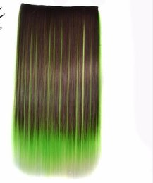 "blue synthetic hair UK - One Piece 5clips Straight Synthetic Hair Clip In Hair Extensions 22"" 55cm 100g Blue Brown Green Pink Ombre Color"