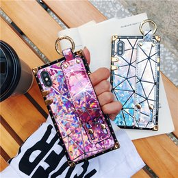 Pink Wrist Strap Australia - Luxury Hologram Pink Phone Case Cover for Iphone X Xs MAX XR 10 8 7 6 6s Plus Cases I Phone X 8plus Holo Designer Couple Wrist Strap