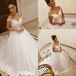 Off White Fall Dresses Australia - 2019 Vintage A Line Satin Off Shoulder White Wedding Dresses Applique Lace Beaded Backless Plus Size Country Bridal Wedding Gowns Vestios D
