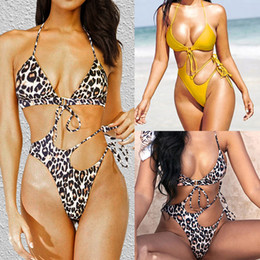 Wholesale yellow one piece swimwear ladies for sale – plus size Womens Sexy Bikini Swimwear Ladies One Piece Swimsuit Leopard Bikini New Style V neck Swimwear with Color