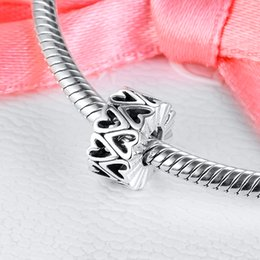 14k spacer beads UK - 2020 Valentine's 925 Sterling Silver Love Charm Openwork Freehand Heart Spacer Charms Beads Fit Bracelets Women DIY Fine Jewelry 798694C00
