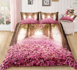 $enCountryForm.capitalKeyWord Australia - Thumbedding Dropship Red Flowers Forest Bedding Sets Twin Flowers Trees Printed 3D Duvet Cover Set Beautiful Landscape Bedclothes 3pcs