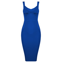 Bright Clothes UK - Bright blue long knee sling 2019 new bandage dress summer Sexy evening Party Bodycon wholesale womens clothing autu Dress + suit