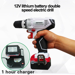 Discount mini electric lock - 12V power tools Electric Cordless Drill Screwdriver Mini Drill electric drilling with lithium battery 2-speed Spindle lo