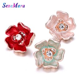 18mm bezel Australia - 1PCS High Quality 18mm Snap Button Jewelry Big Lotus Flower Snap Buttons Fit Bracelet for Women Snaps Jewelry