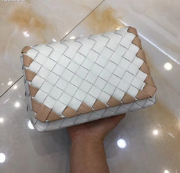 white crossbody bag Canada - Top quality Italy genuine leather crochet mini shoulder bags wholesale luxury bags free shipping white with gold line crossbody bag