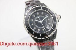$enCountryForm.capitalKeyWord Australia - Hot luxury lady big watches diamond quartz movement womens ceramic black bezel fashion ladies watch 38mm fashion Wristwatches