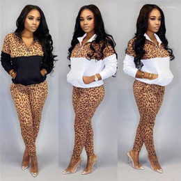 Wholesale zip set resale online - Leopard Tracksuits Skinny Zip Stand Collar Ladies Pants Patchwork Active Female Sets Spring Womens Designer