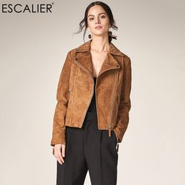 Genuine Motorcycle Jackets Australia - Escalier 2019 Fashion Genuine Leather Jacket Women Zipper Slim Motorcycle Outerwear Coats Turn-down Collar Basic Jackets C19041001