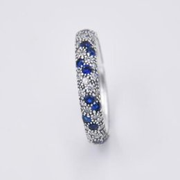 Blue wedding rings women online shopping - Authentic Sterling Silver Ring Entwined Ribbon With Blue Crystal Ring For Women Wedding Party Gift Fine Jewelry