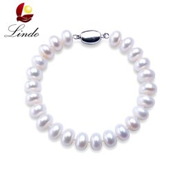 $enCountryForm.capitalKeyWord Australia - High Quality Natural Freshwater Pearl Bracelets For Women Amazing Price 7-8mm  9-10mm Pearl Jewelry Silver 925 Bracelet 18cm MX190726
