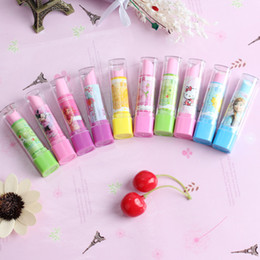 kids rubbers stationery NZ - Cute Fruit Lipstick Style Rubber Erasers For Girls Novelty Pencil Eraser Kids Gift Kawaii Stationery School Supplies J191227