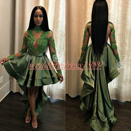 Open back evening dresses high neck online shopping - Emerald African High Low Prom Dresses Sheer Open Back Black Girl Long Sleeve Party Gowns Robe De Soiree Cocktail Juniors Evening Dress