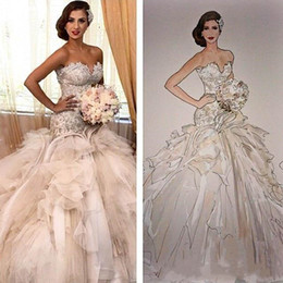 ruffled sweetheart strapless wedding dress Australia - 2019 Cathedral Train Mermaid Wedding Dresses Sweetheart Strapless Lace Applique Beaded Ruffle Long Tulle Luxury Bridal Gowns Wedding Dress